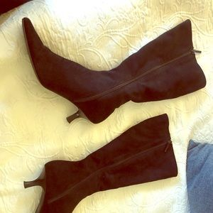 Impo black faux suede heel boots - size 8.5